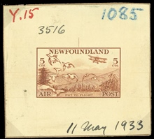 Newfoundland - Die proofs of 1933 air mail issue