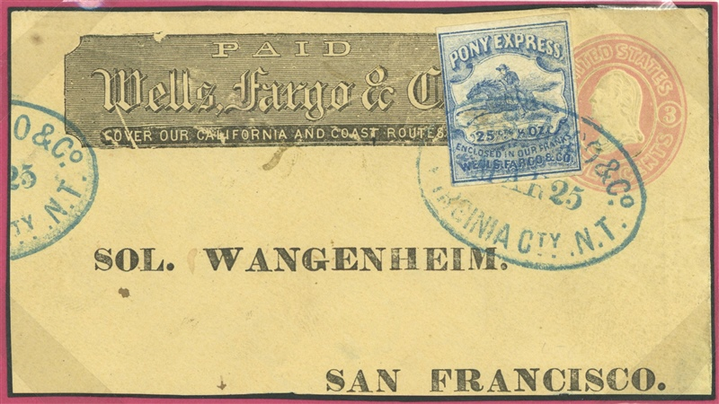 U.S.A. Wells-Fargo embossed envelope with additional 25c Pony Express stamp sent from Virginia City to San Francisco