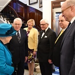 The Queen met the President, Richard Stock, his wife, Vice Presidents Peter Cockburn and Michael Roberts, and Immediate Past President Patrick Maselis