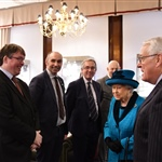The Queen met Jon Aitchison (Hon Secretary), Simon Richards (Hon Treasurer), Ben Palmer (Hon Librarian) and Jason Webber (Administration Manager)