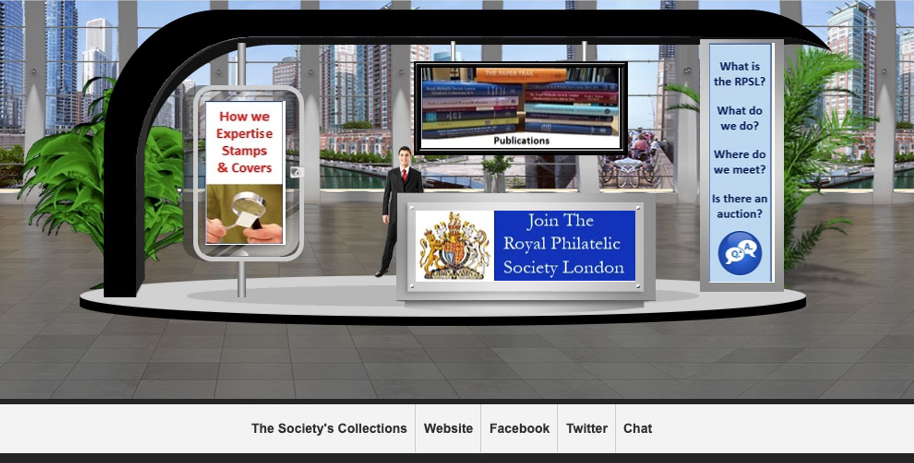 Visualisation of the RPSL's Stand at Stampex International Virtual Exhibition 2020